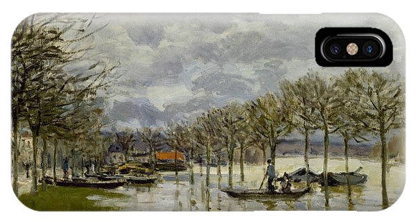 Flooded iPhone Case - The Flood On The Road To Saint Germain by Alfred Sisley