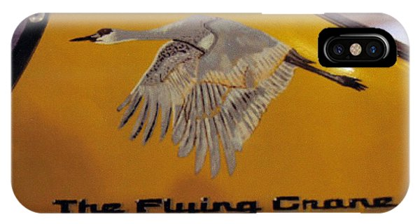 IPhone Case featuring the painting The Flying Crane by Richard Le Page