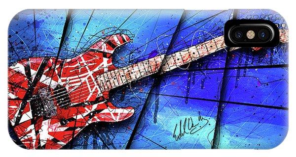 Van Halen iPhone Case - The Frankenstrat On Blue I by Gary Bodnar