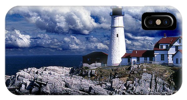 Lighthouse Wall Decor iPhone Case - The Front At Portland Head by Skip Willits
