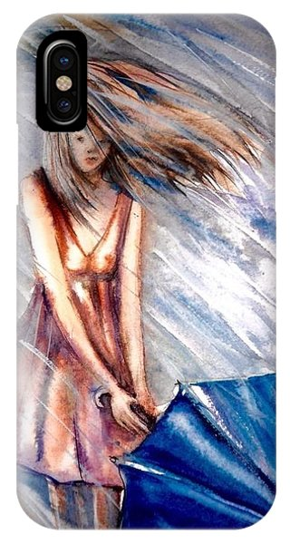 The Girl With A Blue Umbrella IPhone Case