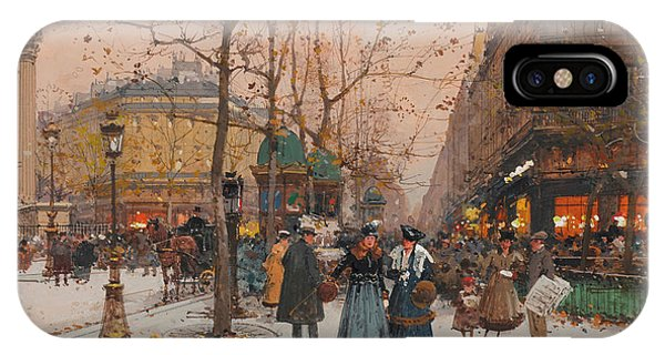 Trolley Car iPhone Case - The Grand Boulevards by Eugene Galien-Laloue