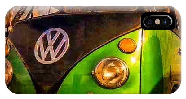 Volkswagen Bus iPhone Case - The Green And The Black #vw #camper by David Asch