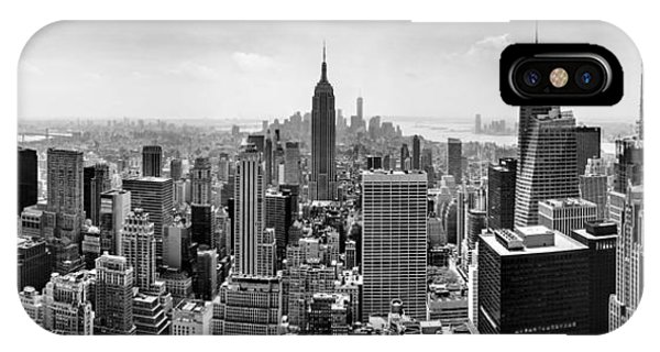 Buildings iPhone Case - New York City Skyline Bw by Az Jackson