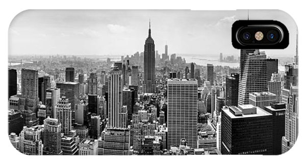 Castle iPhone X / XS Case - New York City Skyline Bw by Az Jackson