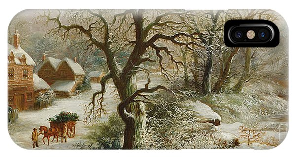 Snowy Road iPhone Case - The Holly Cart by William Oliver Stone