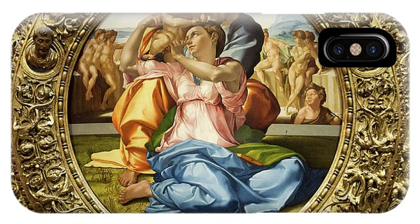The Holy Family - Doni Tondo - Michelangelo - Round Canvas Version IPhone Case