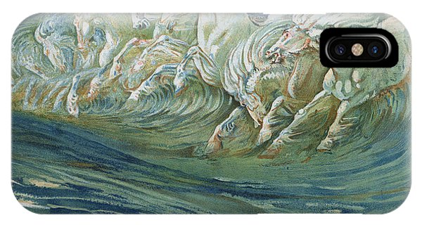 Wild Horses iPhone Case - The Horses Of Neptune by Walter Crane