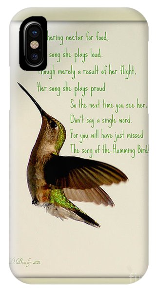 IPhone Case featuring the photograph The Hummingbird by Donna Bentley