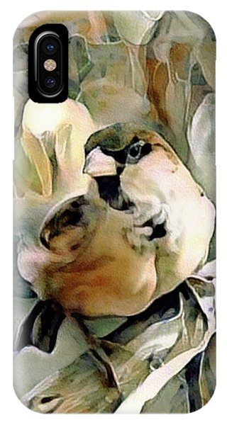 IPhone Case featuring the mixed media The Inquisitive Sparrow by Susan Maxwell Schmidt