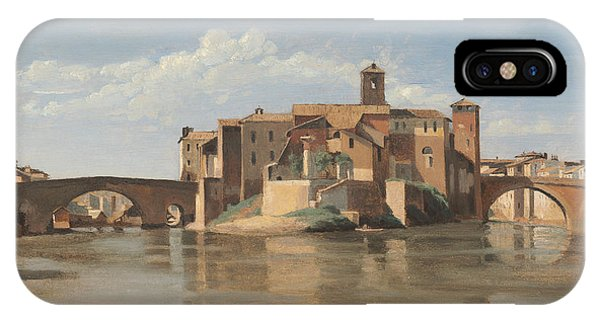 iPhone Case - The Island And Bridge Of San Bartolomeo - Rome by Jean-baptiste-camille Corot
