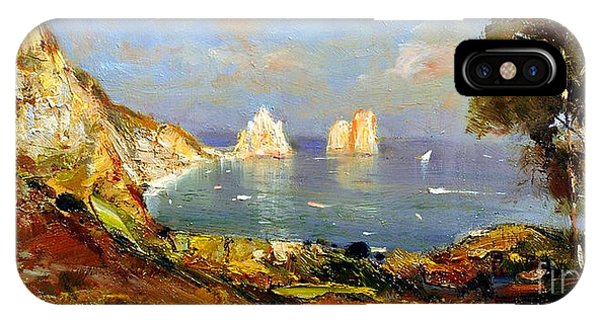 IPhone Case featuring the painting The Island Of Capri And The Faraglioni by Rosario Piazza