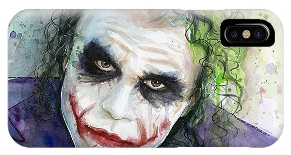 Dark iPhone Case - The Joker Watercolor by Olga Shvartsur