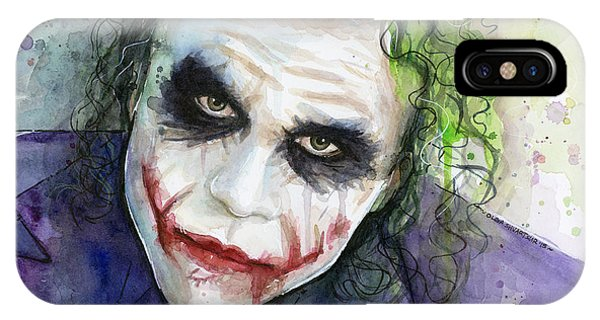 Knight iPhone Case - The Joker Watercolor by Olga Shvartsur