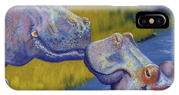 Africa iPhone X Case - The Kiss - Hippos by Tracy L Teeter