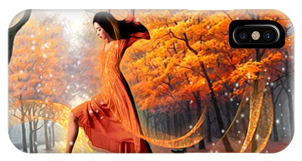 Park Bench iPhone Case - The Last Dance Of Autumn - Fantasy Art  by Giada Rossi