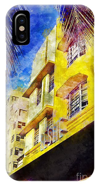 Miami Skyline iPhone Case - The Leslie Hotel South Beach by Jon Neidert