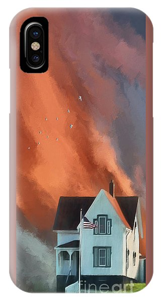 Cape Neddick Lighthouse iPhone Case - The Lighthouse Keeper's House by Lois Bryan