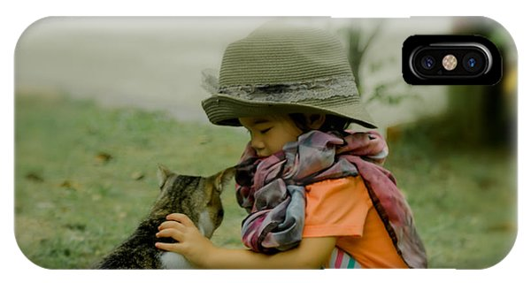 The Little Girl And Her Cat IPhone Case