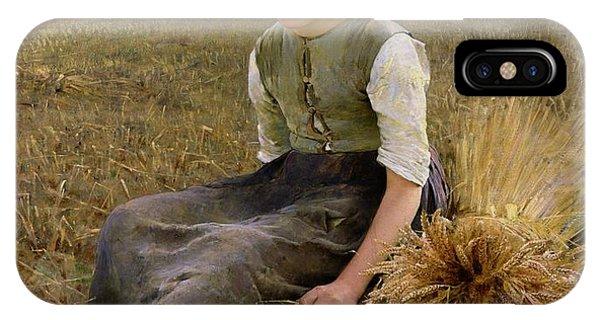 Rural Scenes iPhone X / XS Case - The Little Gleaner by Hugo Salmson