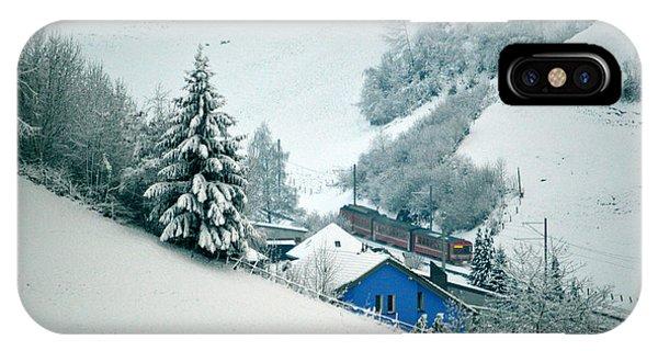 The Little Red Train - Winter In Switzerland  IPhone Case