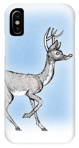 IPhone Case featuring the drawing The Little Reindeer  by Keith A Link
