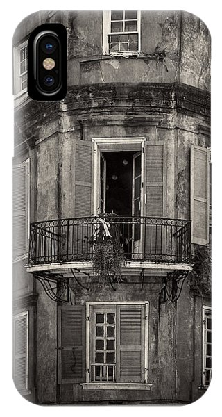 The Lone Balcony Of New Orleans In Black And White IPhone Case
