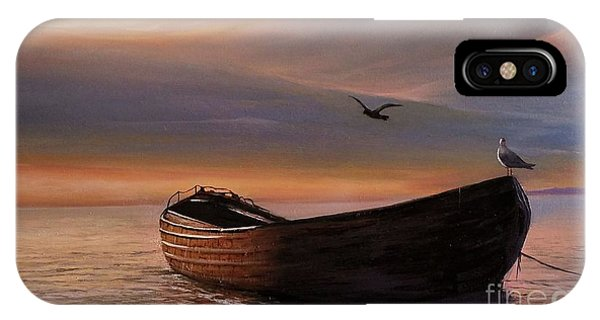 IPhone Case featuring the painting A Lone Boat by Rosario Piazza