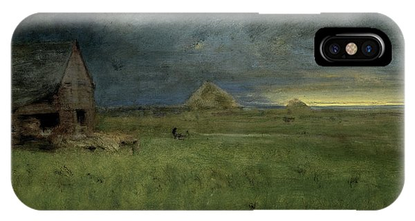 New England Barn iPhone Case - The Lonely Farm by George Inness