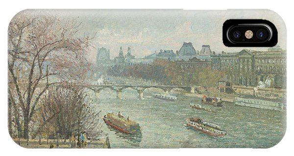 The Louvre iPhone Case - The Louvre, Afternoon, Rainy Weather, 1900  by Camille Pissarro