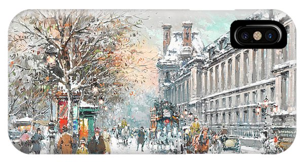 The Louvre iPhone Case - The Louvre-winter by Antoine Blanchard