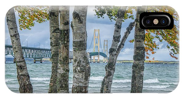 The Mackinaw Bridge By The Straits Of Mackinac In Autumn With Birch Trees IPhone Case