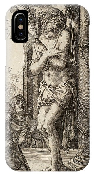 Albrecht Durer iPhone Case - The Man Of Sorrows By The Column With The Virgin And St. John  by Albrecht Durer