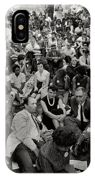 Equal Rights iPhone Case - The March On Washington   A Crowd Of Seated Marchers by Nat Herz