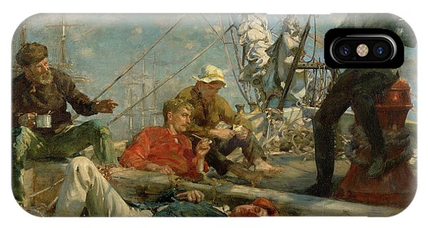 Sea Floor iPhone Case - The Midday Rest Sailors Yarning by Henry Scott Tuke