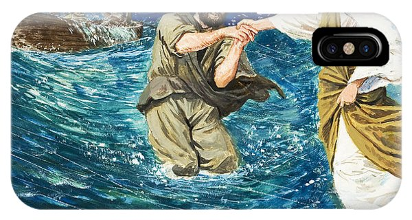 Fishing Boat iPhone Case - The Miracles Of Jesus Walking On Water  by Clive Uptton