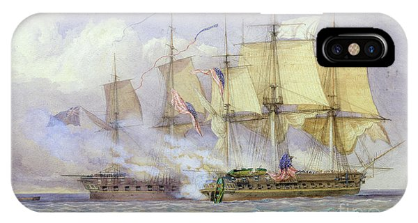 Chesapeake Bay iPhone X Case - The Moment Of Victory Between Hms Shannon And The American Ship Chesapeake On 1st June 1813 by John Christian Schetky