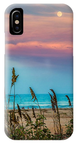 The Moon And The Sunset At South Padre Island 11 By 14 Crop IPhone Case