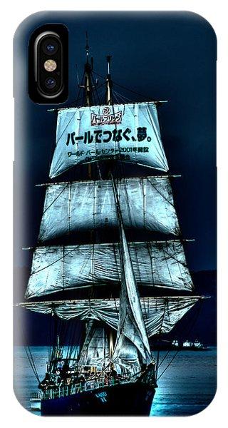 The Moonlit Kaisei Brigantine Tall Ship IPhone Case