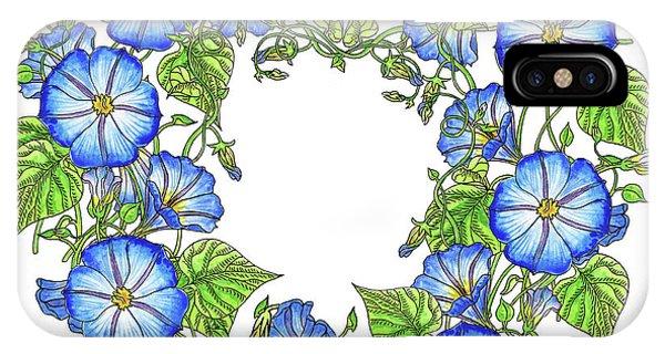 Samantha iPhone Case - The Morning Glory Circle Watercolor by Irina Sztukowski