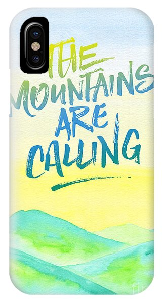 The Mountains Are Calling Yellow Blue Sky Watercolor Painting IPhone Case