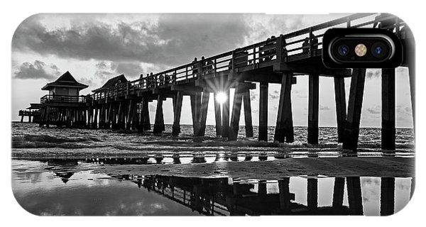 Naples Pier At Sunset Naples Florida Black And White IPhone Case