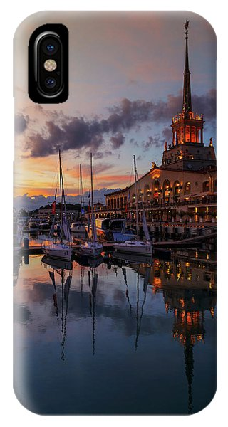the nautical station and the yacht on the main sea channel of the Sochi seaport IPhone Case