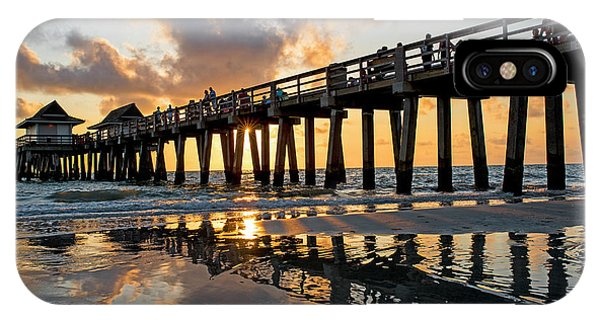 Naples Pier At Sunset Naples Florida Ripples IPhone Case