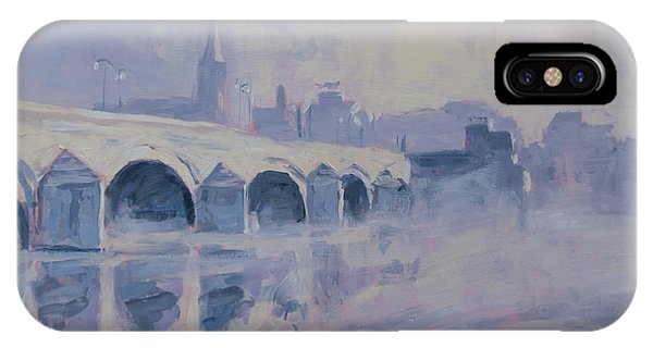 iPhone Case - The Old Bridge In Morning Fog Maastricht by Nop Briex
