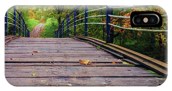 the old bridge over the river invites for a leisurely stroll in the autumn Park IPhone Case