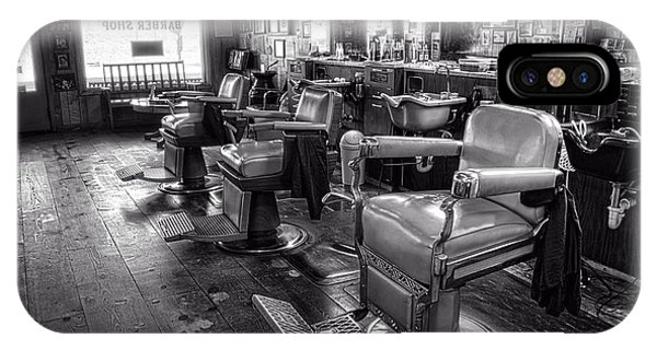 The Old City Barber Shop In Black And White IPhone Case
