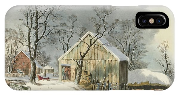 New England Barn iPhone Case - The Old Homestead In Winter, 1864  by George Henry Durrie