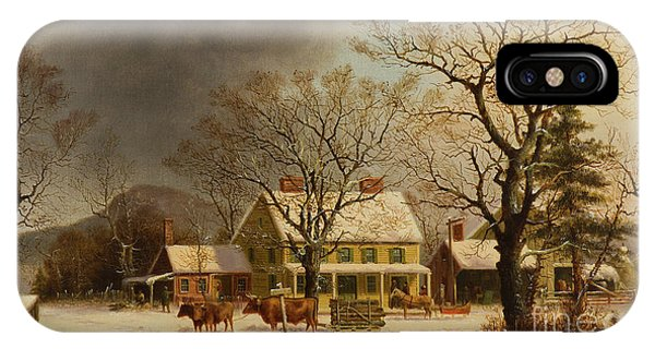 Barn Snow iPhone Case - The Old Inn  Ten Miles To Salem by George Henry Durrie