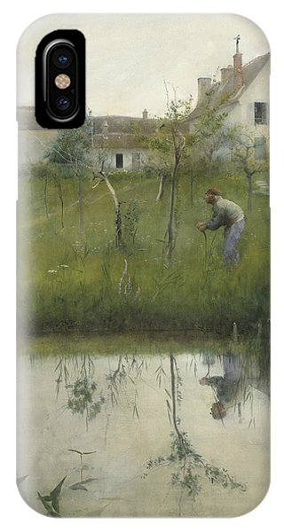 Art And Craft iPhone Case - The Old Man And The Nursery Garden by Carl Larsson